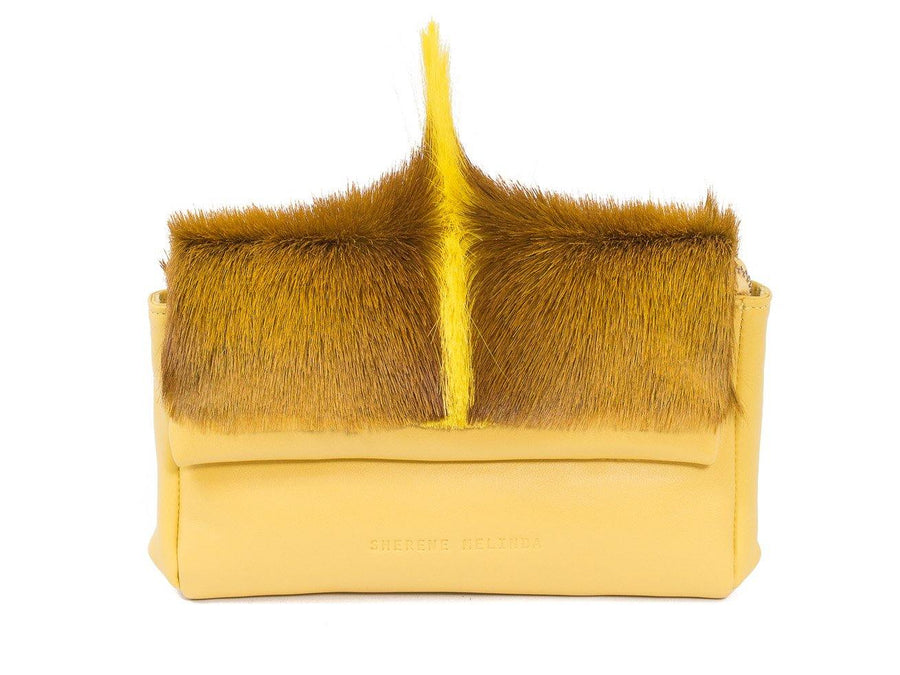 sherene melinda springbok hair-on-hide yellow leather Sophy SS18 Clutch Bag fan front strap