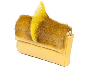 sherene melinda springbok hair-on-hide yellow leather Sophy SS18 Clutch Bag Fan side angle