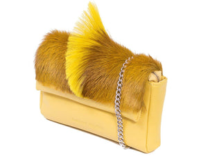 sherene melinda springbok hair-on-hide yellow leather Sophy SS18 Clutch Bag Fan side angle strap