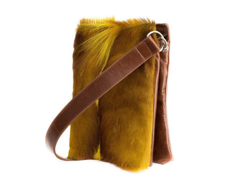 Yellow and brown leather crossbody bag
