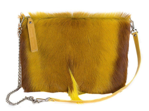 Yellow multiway leather clutch and shoulder bag - Haupt Bag