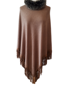ladies ponchos winter wear cashmere faux fur fringes knitted ponchos cover up gifts for her mother's day gifts