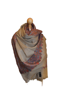 kashmiri border shawl cashmere pashmina scarves stoles elegant occasion gifts for her mother's day gifts unique handmade gifts made in india special gift
