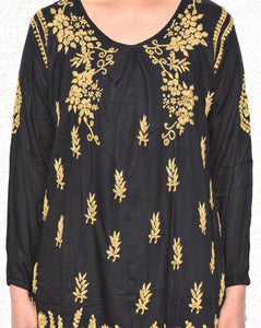 Women's spring summer tunic top in Black & golden lucknawi chikankari tunic