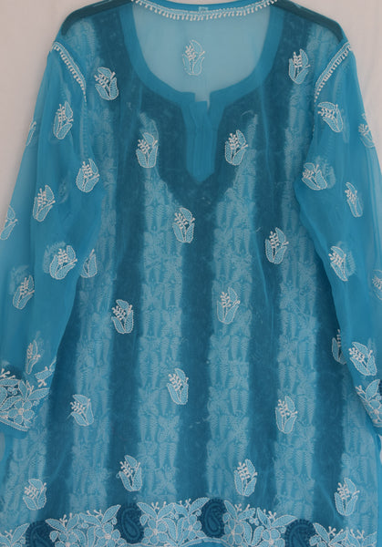 Women's spring summer tunic top in Dark teal blue paisley stripes- lucknawi chikankari embroidered tunic top