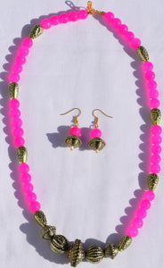 Bright Pink stone necklace with earrings & pendant