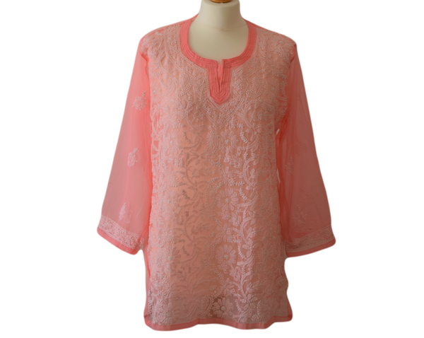 Women's spring summer tunic top - Fully embroidered lucknawi chikankari short top