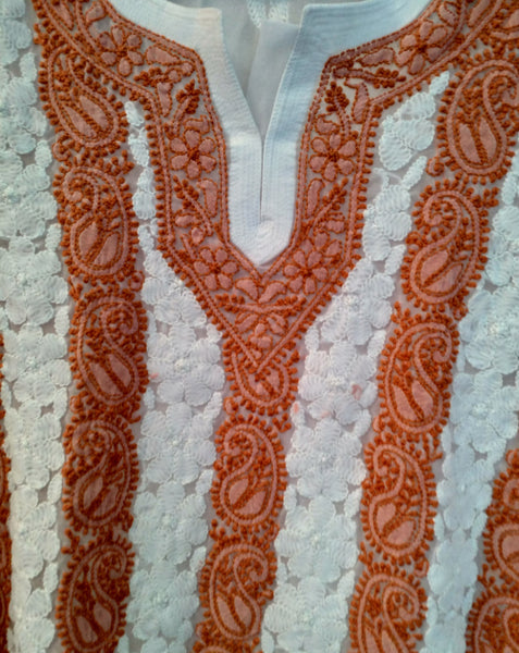 Women's spring summer tunic top - White & Coral paisley lucknawi chikankari embroidered summer tunic top