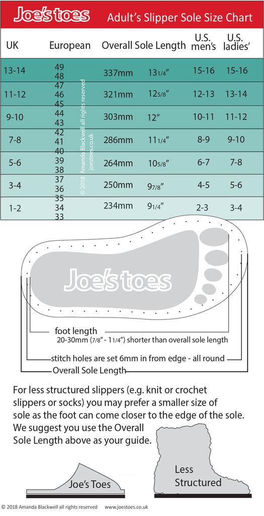Joe's Toes adult shoe size chart
