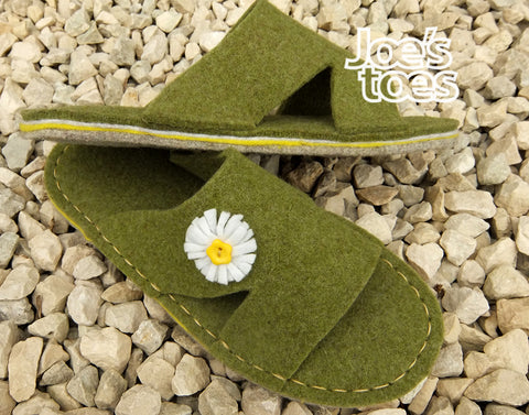 I cut a standard slipper top to make this sandal style and added a felt daisy for a fresh spring look
