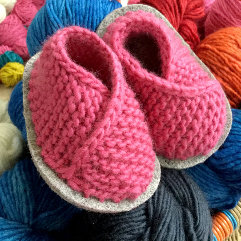 Knitted Baby Booties Crossover Slipper Kit in Malabrigo Merino Yarn in Pink