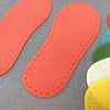 Joe's Toes Crepe Rubber Soles with stitch holes, colour coral