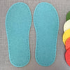 Joe's Toes Crepe Rubber Soles with stitch holes, colour turquoise