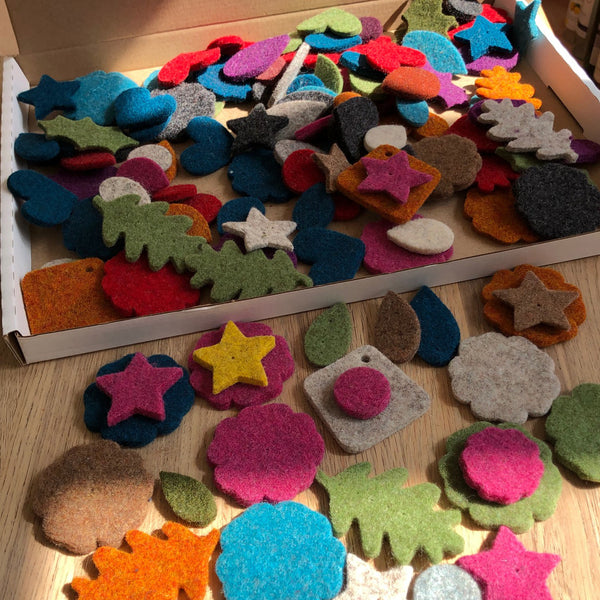 Joe's Toes 100 felt shapes in thick wool felt
