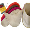 Joe's Toes luxe slipper kit in natural suede with crepe rubber soles