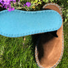 Joe's Toes luxe mule slippers in brown suede showing turquoise crepe rubber soles