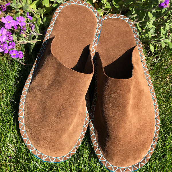 Joe's Toes luxe mule slippers in brown suede with crepe rubber soles