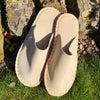 Joe's Toes luxe mule slippers in natural suede with crepe rubber soles
