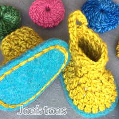 Joe's Toes Bruna crochet boot for babies in ochre