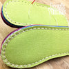 Joe's Toes slipper soles in wipe-clean vinyl stitched example in lime