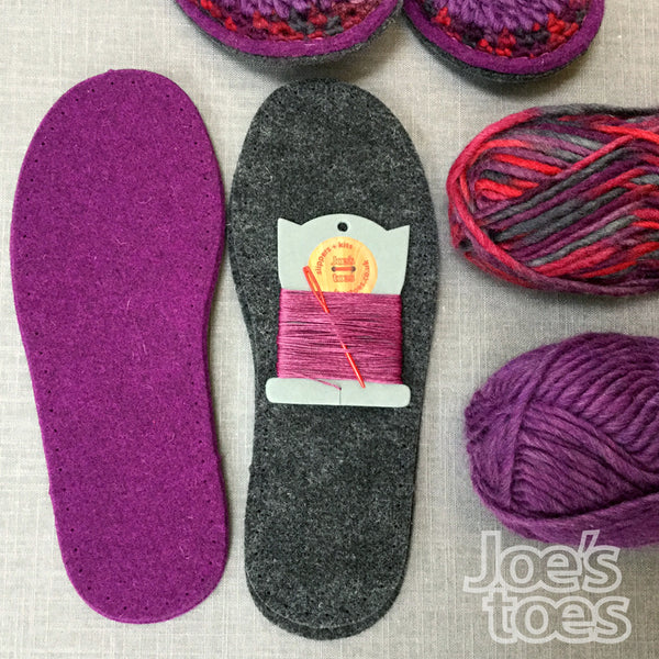 Joe's Toes Sarah crochet slipper kit parts in Berry Mix colourway