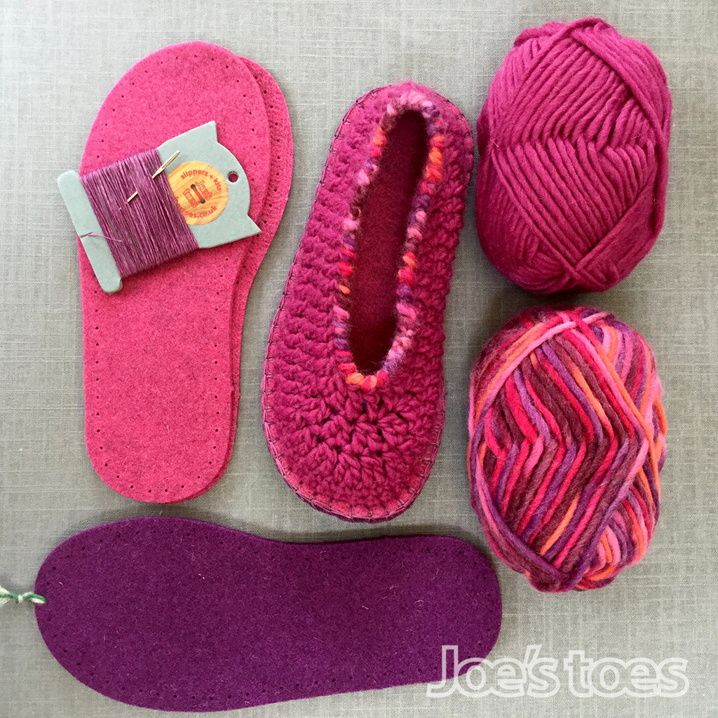 Joe's Toes Sarah crochet slipper kit parts in Fuchsia Mix colourway