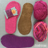 Joe's Toes Sarah crochet slipper kit parts in Fuchsia mix with suede soles