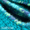 Joe's Toes Sarah crochet slipper kit parts in Turquoise Mix close up top edge