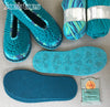 Joe's Toes Sarah crochet slipper kit parts in Turquoise Mix colourway