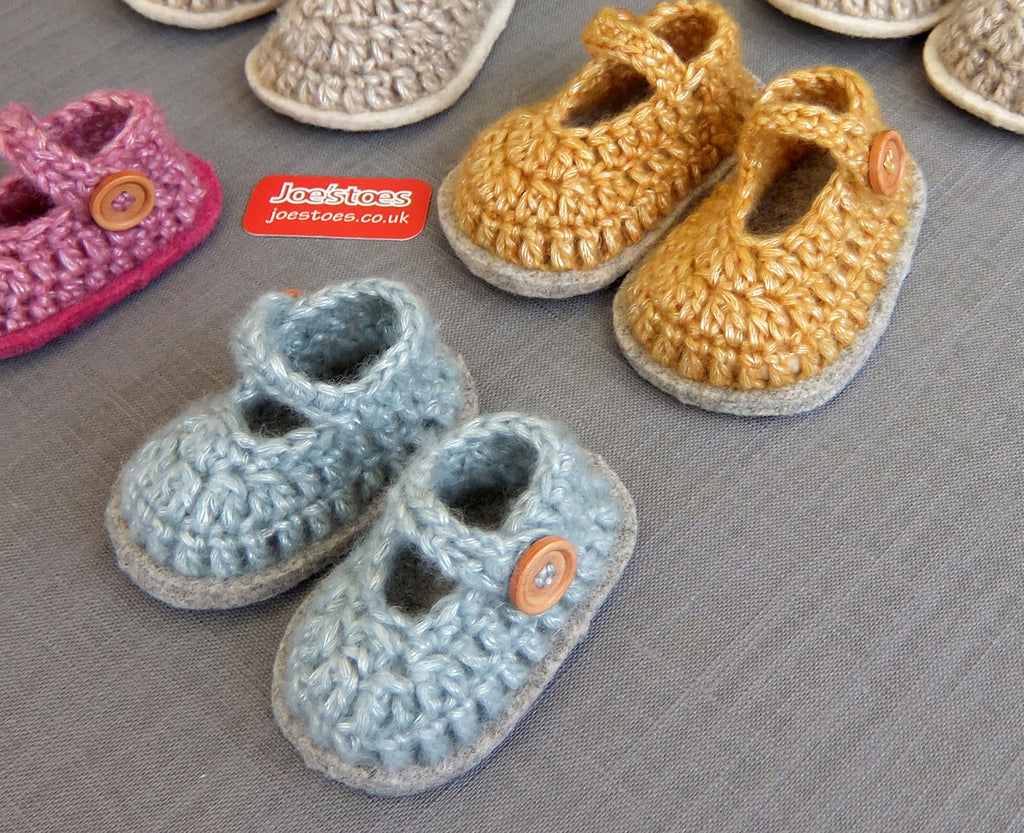 Mary-Jane Crochet Baby Shoe Kit - Joe's Toes Newborn size 0 / Aqua with light grey felt sole - 1