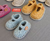 Mary-Jane Crochet Baby Shoe Kit - Joe's Toes newborn-3 months (shoe size 00) / Aqua with light grey felt sole - 1