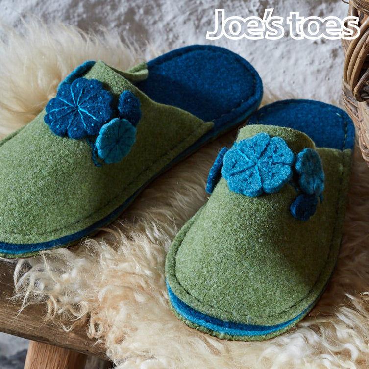 Felt flower slippers in grean and teal from Joe's Toes