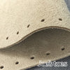 Joe's Toes natural suede slipper sole close up showing punched holes