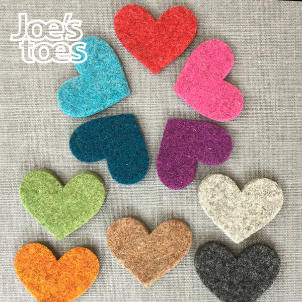 Joe's Toes small felt hearts