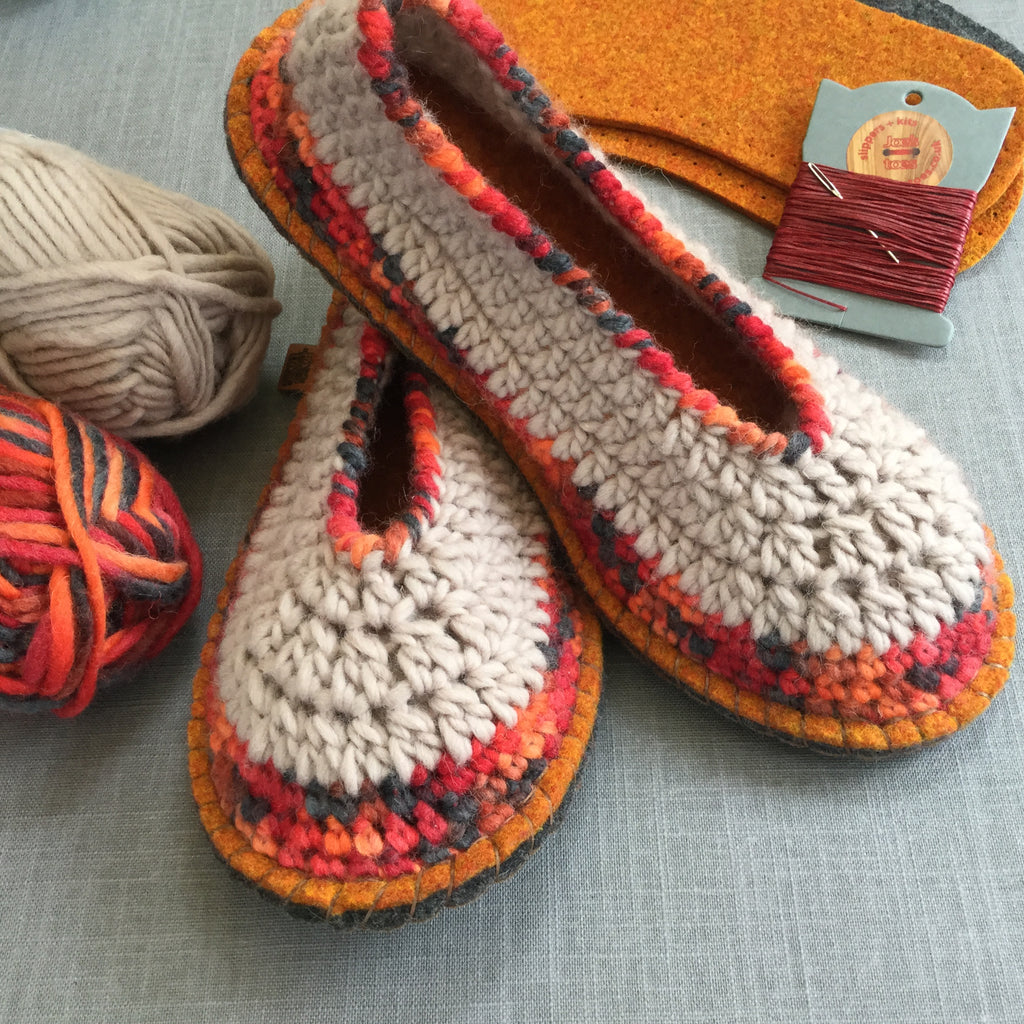 Joe's Toes Sarah Crochet Slipper Kit - adult sizes from one to twelve- Latte-Volcano