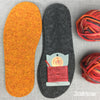 Joe's Toes knitted crossover slipper kit in Volcano with felt soles