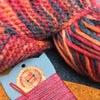 Joe's Toes knitted crossover slipper kit close up volcano colourway