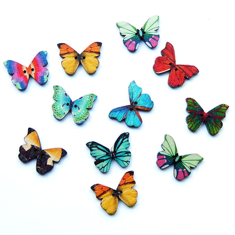 Butterfly Painted Wooden Buttons