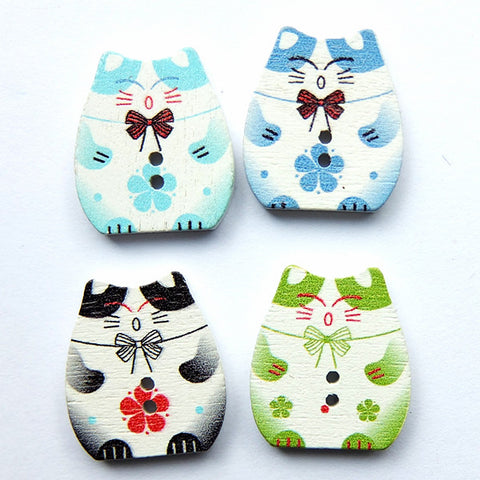 Inscrutable Cats Painted Wood Buttons