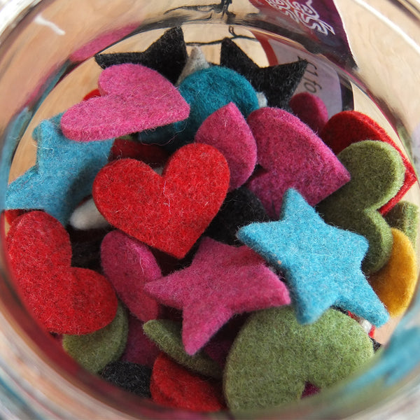 100 felt shapes from Joe's Toes including felt hearts, felt start and other wool felt shapes