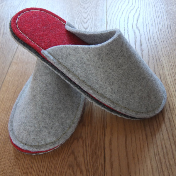 Grey & Red Felt Slipper - Suede Sole - Joe's Toes  - 1