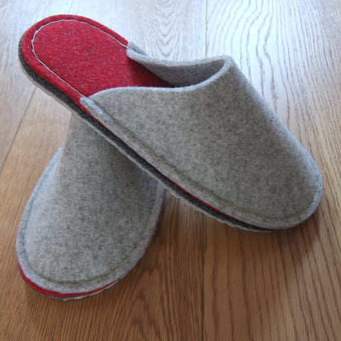 Grey & Red Felt Slipper - Suede Sole