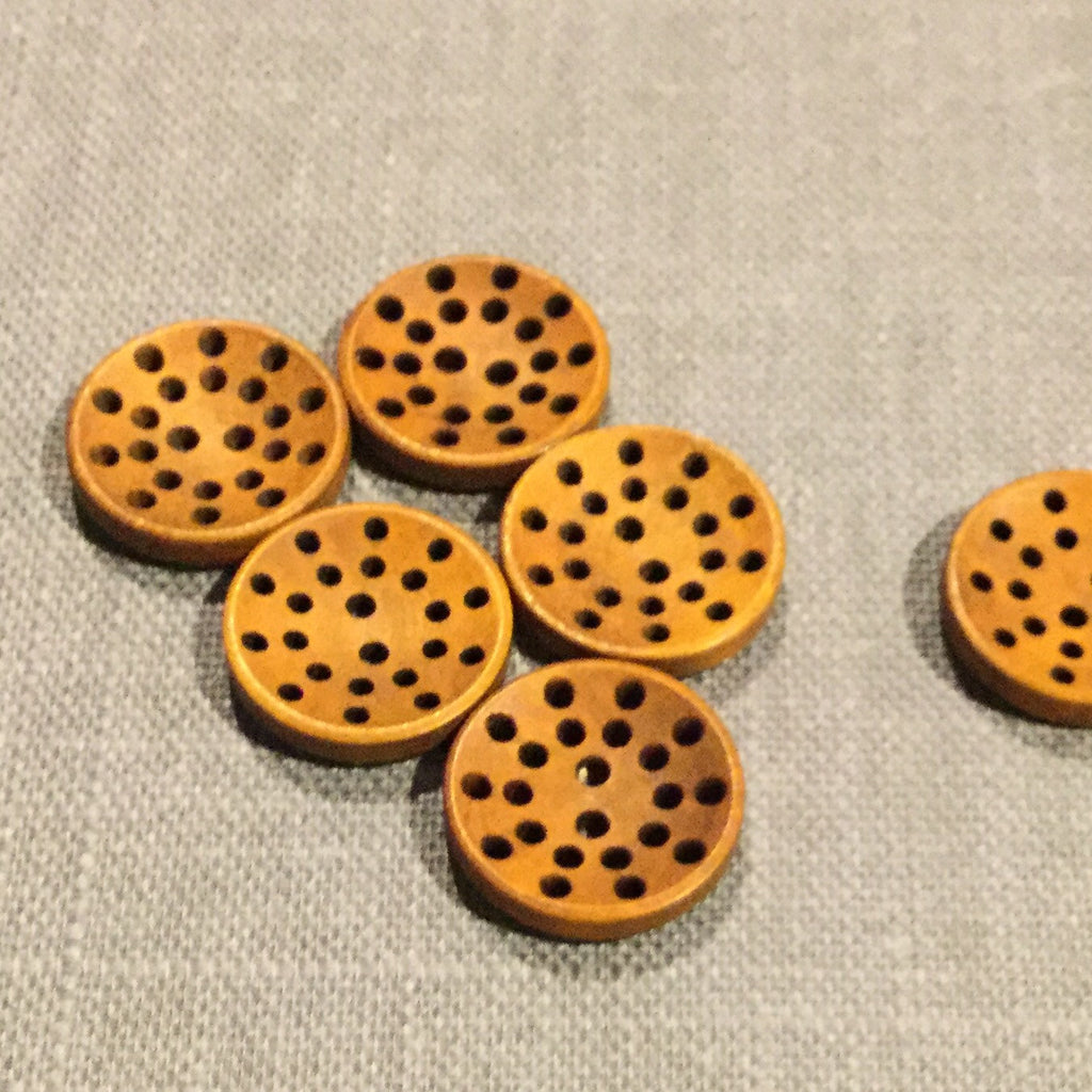 Pierced Wooden Button - Joe's Toes  - 1