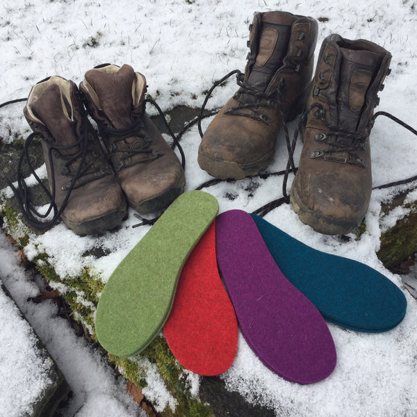 Thick Felt Boot Liners - warm insoles for boots or shoes -buy two pairs and save!