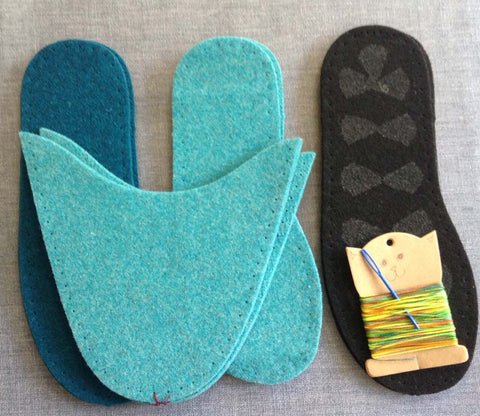 Complete Slipper Kit - Turquoise & Teal UK sizes