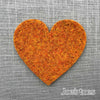 Joe's Toes big heart patch in marmalade orange thick wool felt with punched holes