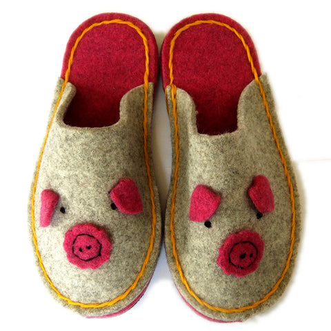 Felt Piggy Slipper