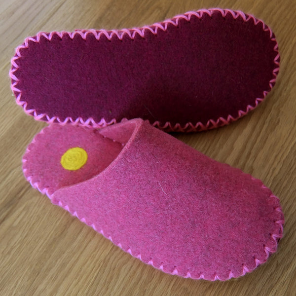 Fuchsia Pink Felt Slippers - Yellow Dot - Joe's Toes  - 1