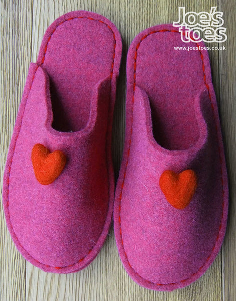 Fuchsia Felt Sipper - Heart Trim - Joe's Toes  - 1