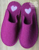 Purple slipper with handfelted heart - Joe's Toes  - 1